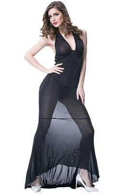 Sexy Black Long Mesh Skirt Set