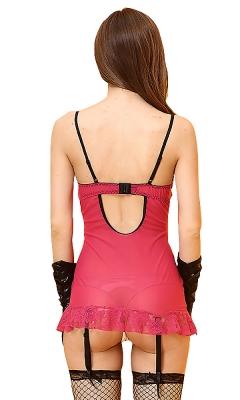 Flyaway Black And Rose Red Lace Babydoll Set